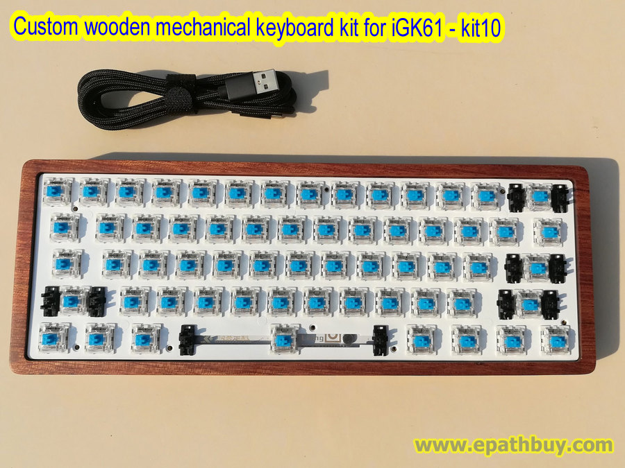 Custom programmable mechanical keyboard kit - custom wooden keyboard case,  hotswap pcb with kailh sockets, pre-plugged mx switches - iGK61 kit10