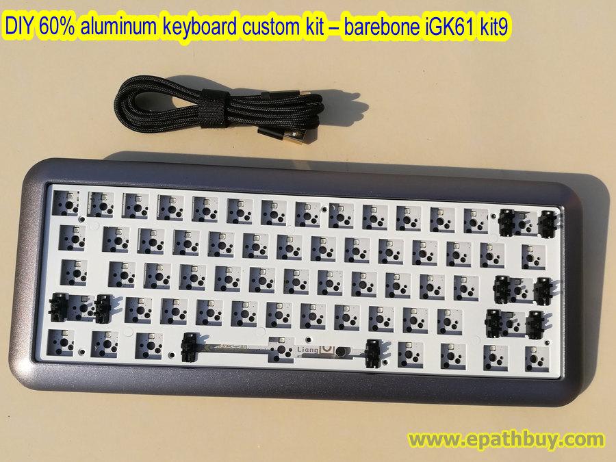 DIY 60% keyboard custom kit,2018 arc aluminum case,full rgb backlit PCB,  plate, USB type C cable - barebone iGK61 kit9