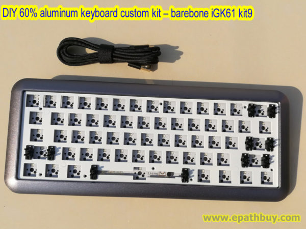 DIY 60% keyboard custom kit,2018 arc aluminum case,full rgb backlit, hotswap PCB
