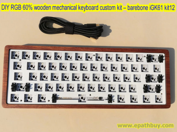 DIY RGB 60% mechanical keyboard custom kit, wooden keyboard shell, 61-key hot swap switch pcb, USB type C cable