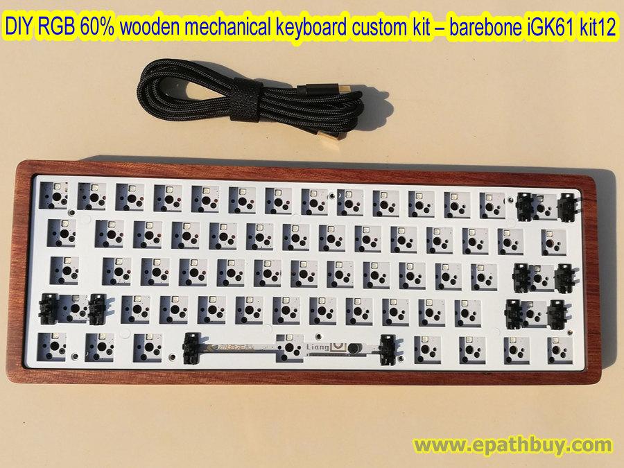 Diy Rgb 60 Mechanical Keyboard Custom Kit Wooden Keyboard Shell 61 Key Hot Swap Switch Pcb Plate Usb Type C Cable Barebone Igk61 Kit12