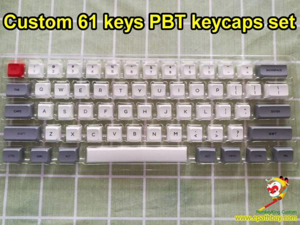 Custom 60% 61 keys GH60 pbt keycaps, iGK61 (GK61) keycaps set, dye-subbed GSA profile - gray/white