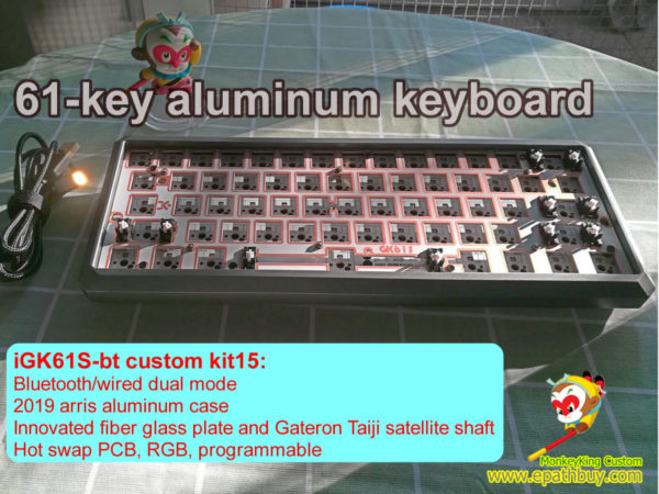 61 keys aluminum bluetooth keyboard barebones kit: GK61S wireless hot swappable PCB, fiber glass plate, Gateron Taiji satellite shaft