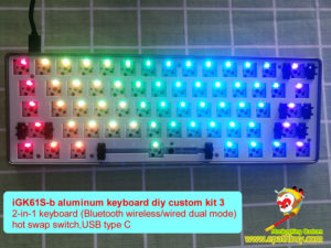 iGK61S-bt wireless bluetooth/wired dual mode, hotswap siwtch, aluminum keyboard diy custom kit, rgb, programmable, removeable switch,USB type C, GK61S