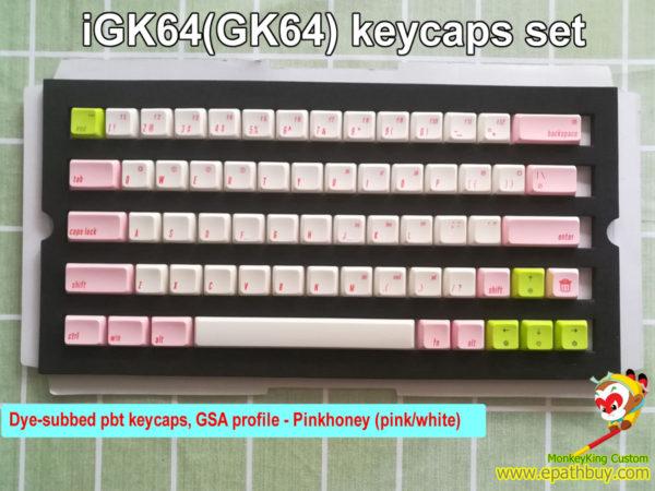 iGK64s(GK64s)Dye-subbed pbt keycaps, GSA profile - Pinkhoney (pink/white)