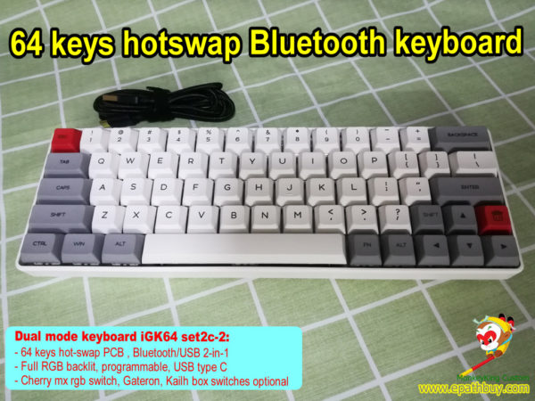GK64S keyboard custom 60% 64 keys compact hot swap blueooth 5.1 usb 2-in-1 rgb mechanical keyboard