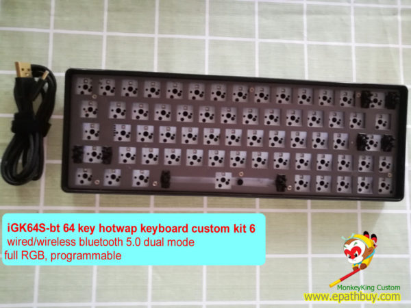 GK64S wireless bluetooth 5.0 dual mode keyboard custom diy kit