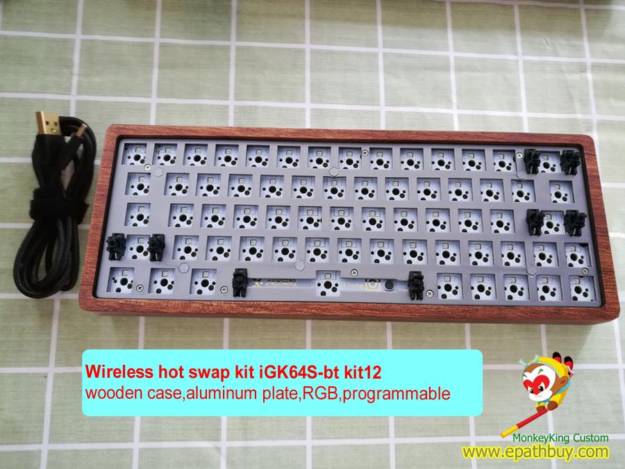 Wireless hot swap keyboard kit: wooden shell 60% bluetooth ...