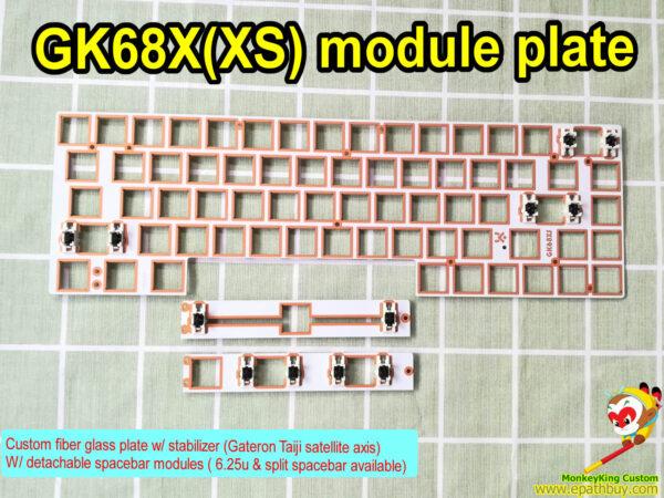 Custom GK68XS fiber glass plate, w/ detachable spacebar modules