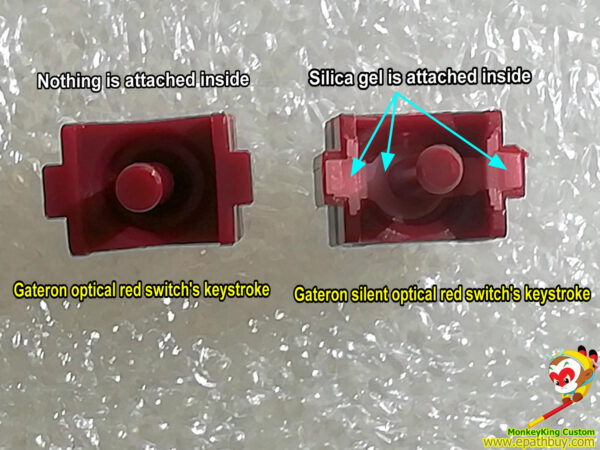 the difference between Gateron optical red switch and Gateron optical silent red switch