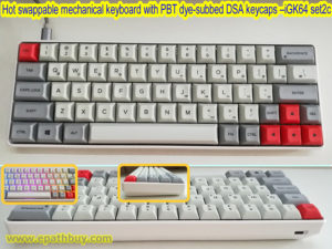 64 key hot swappable mechanical keyboard with PBT dye-subbed DSA keycaps, RGB backlighting, programmable, USB type C port – Powermonkey iGK64