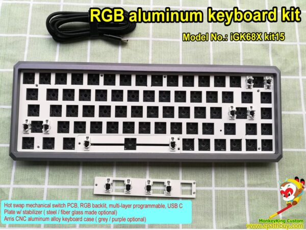 RGB aluminum keyboard kit,custom compact keyboard kit, hot swap 68 or 70 keys RGB backlit keyboard PCB