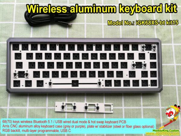 Wireless aluminum keyboard kit iGK68XS-bt kit15 (GK68XS kit15), custom 60% rgb backlit keyboard kit, arris purple case, hot swap PCB