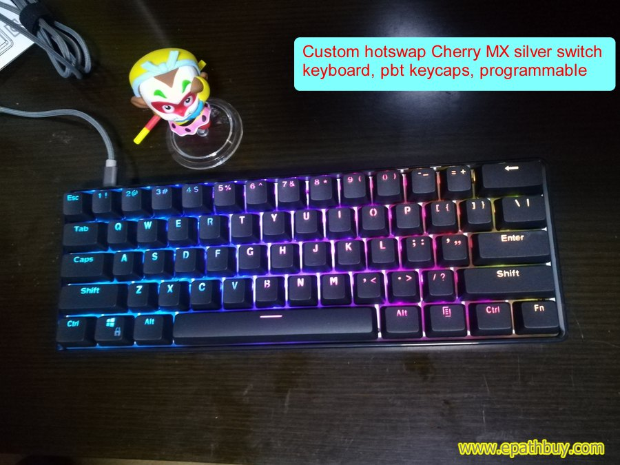 cherry mx silver keyboard, 60% 61-key cherry speed switch RGB keyboard, programmable