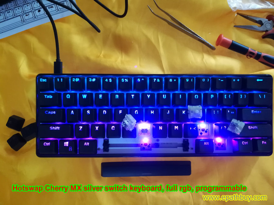 Cherry mx silver mechanical keyboard , hotswap PCB, full rgb, programmable