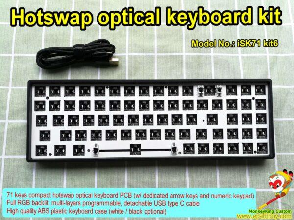 Compact optical keyboard kit iSK71 kit6, buy best 71 keys RGB gaming mechenanical keyboard custom kit, build your own keyboard easily.