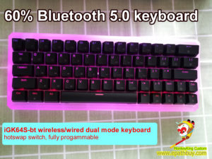 Custom 60% rgb backlit wireless bluetooth 5.0 /wired dual mode mechanical keyboard, built-in semitransparent polycarb case, hot swappable switch, programmable, 64 keys with arrow keys
