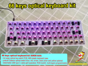 66 keys hot swap optical keyboard custom diy kit, best 65% comapct custom rgb gaming mechanical keyboard kit