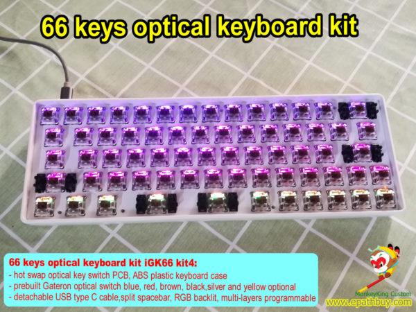 66 keys hot swap optical keyboard custom diy kit, best 65% comapct custom rgb gaming mechanical keyboard kit