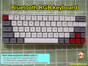 custom 60% bluetooth mechanical keyboard, 64 keys RGB blueooth keyboard, hot swap pcb , dye-subbed pbt keycaps, cherry mx rgb switch, gateron switch, kailh box switch optional