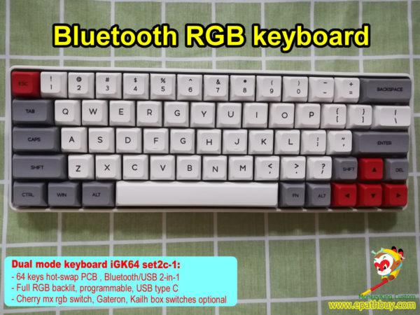 custom 60% bluetooth mechanical keyboard, 64 keys RGB blueooth keyboard, hot swap pcb , dye-subbed pbt keycaps, cherry mx rgb switch, gateron switch, kailh box switch optional