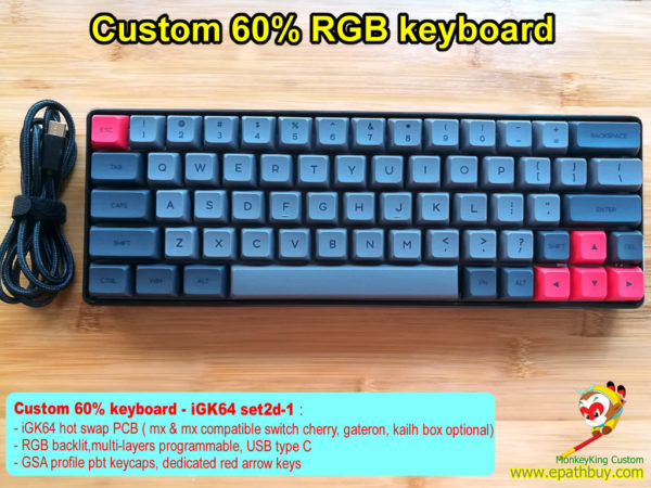 Custom 60% mechanical keyboard: 64 keys hot swap PCB, GSA profile pbt dye-subbed keycaps, dedicated red arrow keys, RGB backlit, multi-layers programmable, USB type C