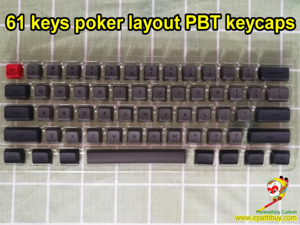 Custom 61 keys pbt keycaps set, fit for 60% poker layout mechanical keyboard, iGK61(GK61),GH60...