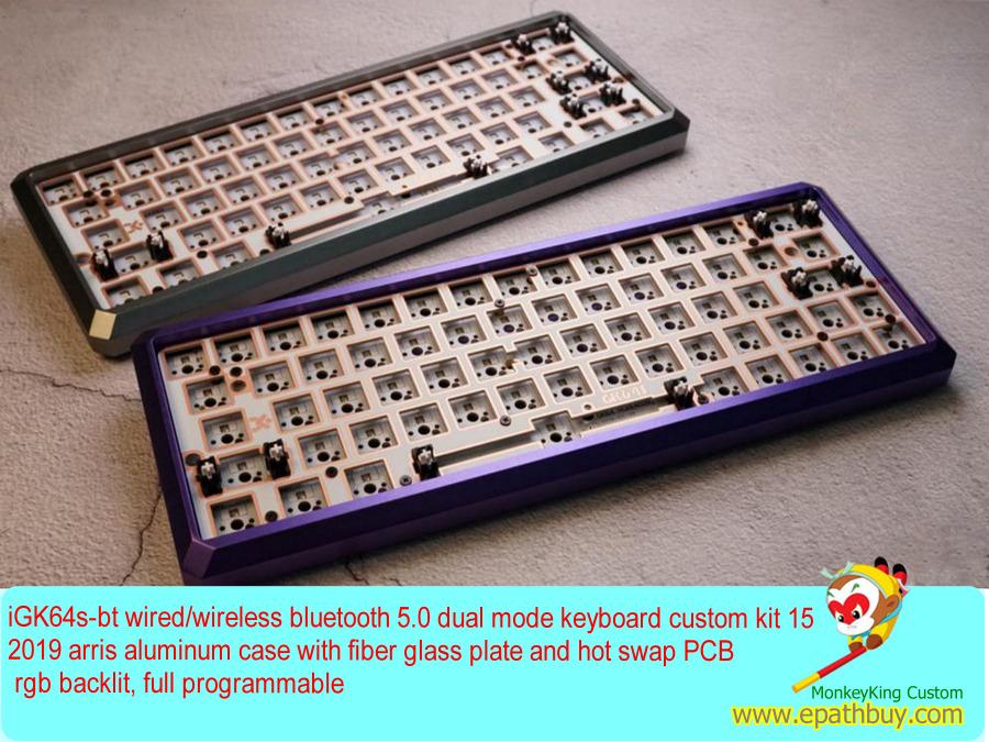 2019 Custom 64 Keys 60 Aluminum Mechanical Keyboard Diy Kit Hot Swap Switch Wired Wireless Bluetooth 5 0 Dual Mode Full Programmable Barebones Kit