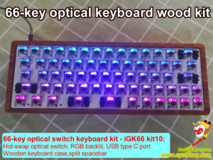 Custom 66-key hot swappable optical switch RGB mechanical keyboard wooden case kit,split spacebar,detachable USB C cable, Gateron blue, red, black, brown, yellow,and silver optical switches optional