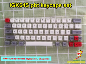 GK64 keys, GK64S keycaps set, 64 keys, custom red arrow keys, pbt dye-subbed, GSA profile