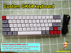 Custom GK64 keyboard: 2020 new GK64S RGB backlit keyboard, hot swap PCB, GSA profile keycaps, dedicated red arrow keys