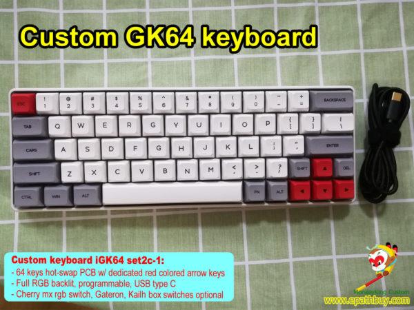 Custom GK64 keyboard: 2020 new GK64S RGB backlit keyboard, hot swap PCB, GSA profile keycaps, dedicated red arrow keys