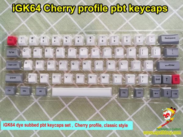 GK64 keycaps set,custom 60% 64 keys cherry profile dye subbed pbt keycaps for GK64(iGK64) mechanical keyboard