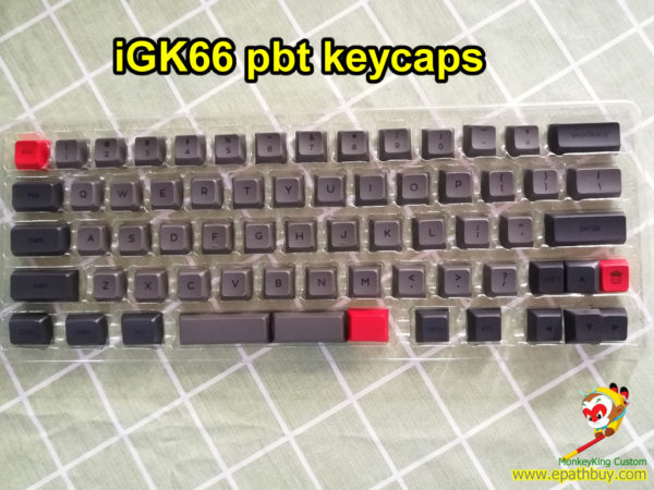 Custom 60% 66 keys pbt keycaps, dye-subbed GSA prfile - gray/black for iGK66(GK66) mechanical keyboard