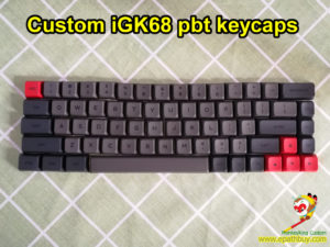 Custom iGK68 (GK68) mechanical keyboard GSA profile pbt dye-subbed keycaps set, 68 keys black/gray/red colors
