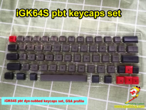 New custom GK64 keycaps, GK64S (iGK64S) bluetooth mechanical keyboard pbt keycaps set,dedicated red arrow keys, dye-subbed, GSA profile