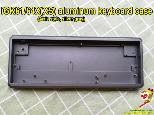 Custom best aluminum keyboard case 2021, arris style, silver-gray,for how swappable mx mechanical switch keyboard iGK61XS iGK64XS