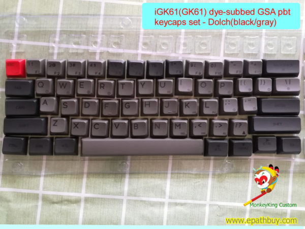 Customized 60% keyboard dye subbed PBT keycaps set for igk61 (gk61), GSA profile - dolch(black/gray )