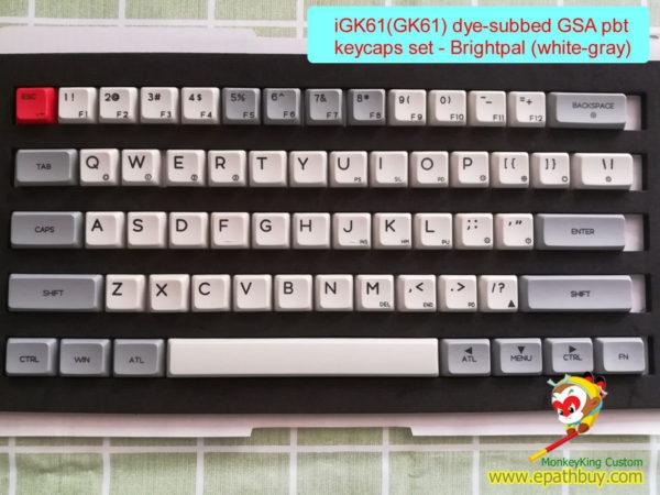 iGK61(GK61) keycaps, 61 keys pbt dye subimiton key caps set, GSA profile - brightpal ( white-gray)