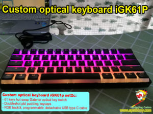 Custom optical keyboard, customized best 60% rgb backlit optical mechanical keyboard, doubleshot pudding pbt keycaps