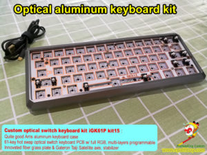 Custom optical switch keyboard kit, customized 60% 61 keys optical key switch aluminum mechanical keyboard diy kit, RGB backlit programmable, hot swap PCB