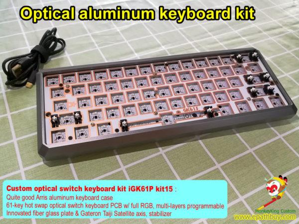 Custom optical switch keyboard kit, customized 60% 61 keys optical key switch aluminum mechanical keyboard diy kit, RGB backlit programmable, hot swap PCB