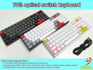 custom optical switch mechanical keyboard iGKS71: 70% 71 keys RGB programmable USB type C, GSA profile pbt dye-subbed keycaps, hotswap Gateron optical blue, red, brown, black, silver and yellow keys switches optional