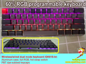 Custom 60 percent 61 keys hot swap metal keyboard,wireless bluetooth/wired dual mode, rgb, programmable, usb c