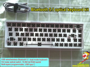 custom wireless optical keyboard kit, 60% 68 keys, RGB backlit,programmable, hot swap keyswith PCB, build your own Gateorn optical key switch wireless mechanical keyboard easy!