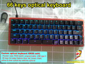 custom wooden optical keyboard 66 keys rgb backlit,60% compact hot swap mechanical keyboard