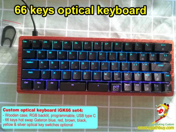 custom wooden optical keyboard 66 keys rgb backlit,60% compact hot swap mechanical keyboard