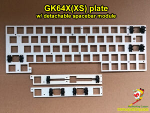 Custom GK64XS plate w/ stabilizer, detachable spacebar module ( 6.25u & split spacebar available), fit for iGK64X, iGK64xs-bt (GK64X, GK64XS) hot swap mechanical keyboard PCB and custom iGK(GK) series keyboard cases