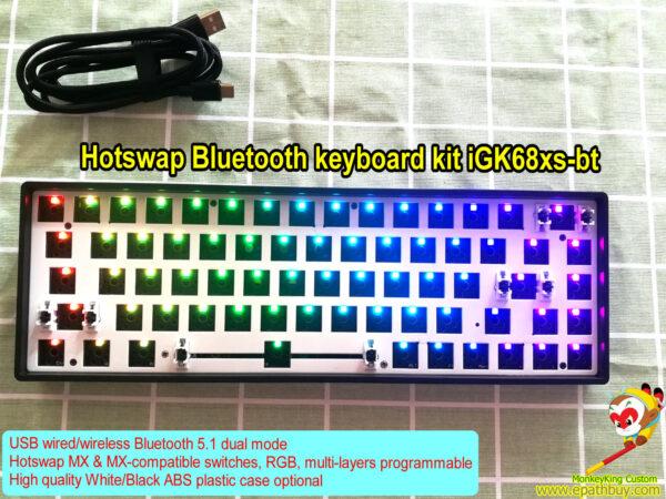 Hot swap Bluetooth keyboard kit iGK68xs-bt (GK68xs-bt): full RGB backlight,multi-layers programmable, 65% compact USB / wireless dual keyboard kit, best buy hot swap mechanical switch keyboard custom barebone kit, build your own keyboard easily!