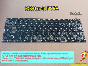 Hot swap wireless Bluetooth 5.1/USB wired dual mode mechanical keyboard PCB iGK61XS-bt, RGB backlit, multi-layers programmable